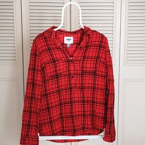 Old Navy Flannel Red Plaid Button-up Shirt 100%